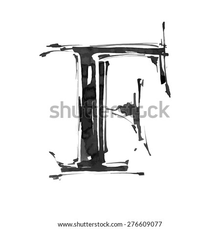 letter F. Alphabet symbol - grunge hand draw paint / vector illustration - stock vector