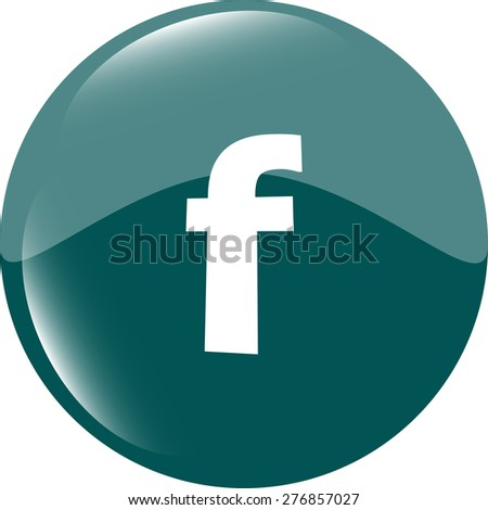 Letter F like facebook vector flat icon. blue and white colors - stock vector