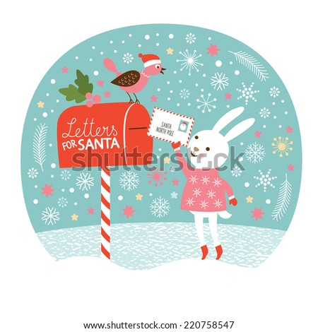 Letter for Santa,the cute little rabbit is sending the letters for Santa, Christmas card - stock vector