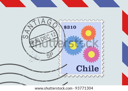 Letter from Chile - postage stamp and post mark from Santiago. Chilean mail. - stock vector