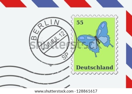 Letter from Germany - postage stamp and post mark from Berlin. German mail. - stock vector