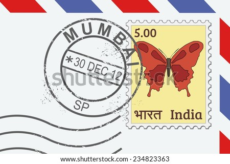 Letter from India - postage stamp and post mark from Mumbai. Indian mail. - stock vector