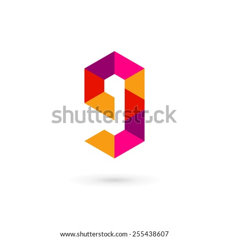 Letter G number 9 mosaic logo icon design template elements  - stock vector
