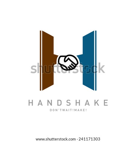 Letter H with handshake icon integrated logo template - stock vector