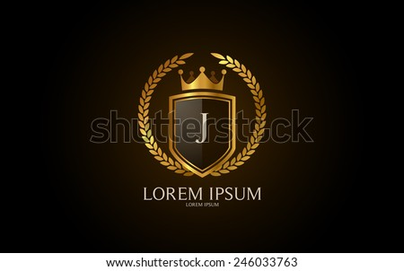Letter J crest logo. Alphabet logotype vector design. - stock vector