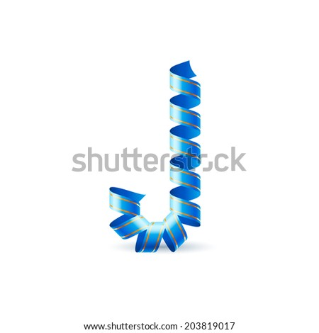 Letter J made of blue curled shiny ribbon - stock vector