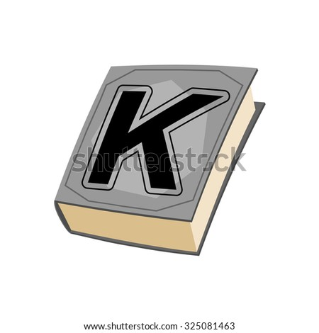 Letter K and on cover of book. Old Edition with alphabetical icon. Concept of template elements ABC - stock vector