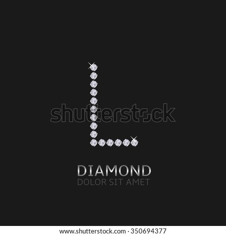 Letter L with gemstones. Luxury Diamond alphabet, Vector illustration - stock vector