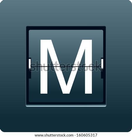 Letter M from mechanical scoreboard. Vector - stock vector