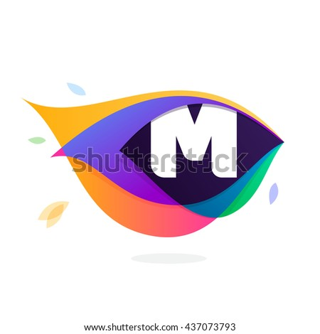 Letter M logo in peacock feather icon. Multicolor vector alphabet letters for app icon, corporate identity, card, labels or posters. - stock vector