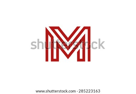 Letter M Logo vector alphabet design element template. ABC concept type as logotype. Typography icon line art - stock vector