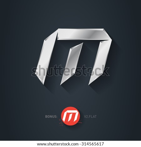 Letter M, Vector silver font. Elegant Template for company logo. Metallic Design element or icon. Pseudo origami style, including flat version. - stock vector