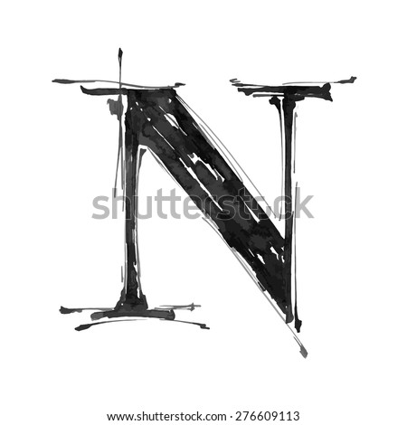 letter N. Alphabet symbol - grunge hand draw paint / vector illustration - stock vector