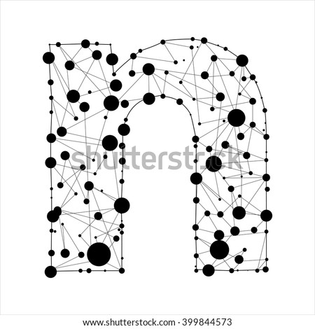 Letter N consisted of dots and lines, English alphabet - stock vector