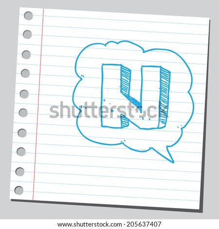 Letter N in comic bubble  - stock vector