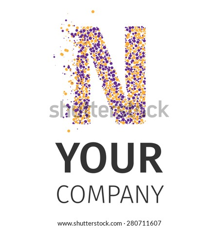 Letter N logo. Alphabet particles logotype vector design. Excellent vector illustration, EPS 10 - stock vector