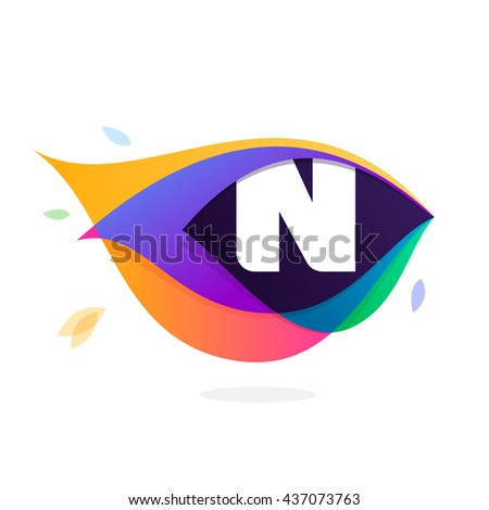 Letter N logo in peacock feather icon. Multicolor vector alphabet letters for app icon, corporate identity, card, labels or posters. - stock vector
