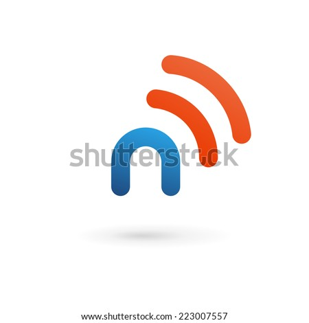 Letter N wireless logo icon design template elements  - stock vector
