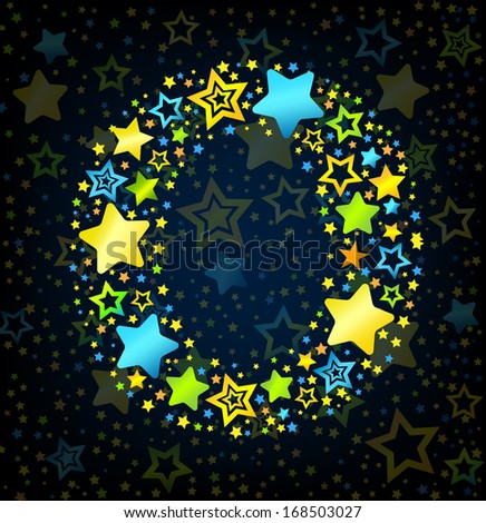 Letter O cartoon kid style vector font with  colored  stars - stock vector