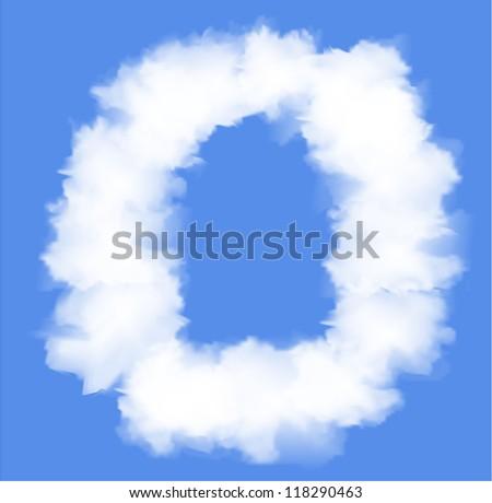 Letter O  cloud shape - stock vector