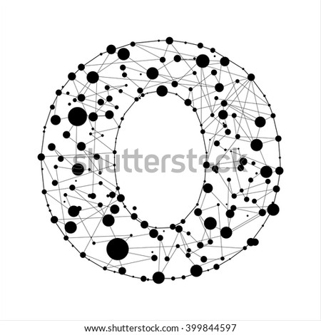 Letter O consisted of dots and lines, English alphabet - stock vector