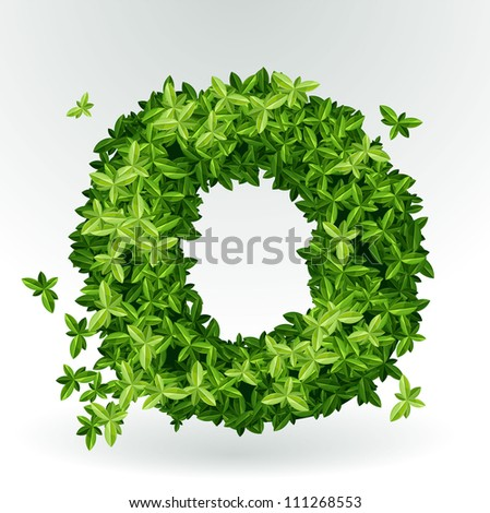 Letter O, green leaves summer vector alphabet. - stock vector