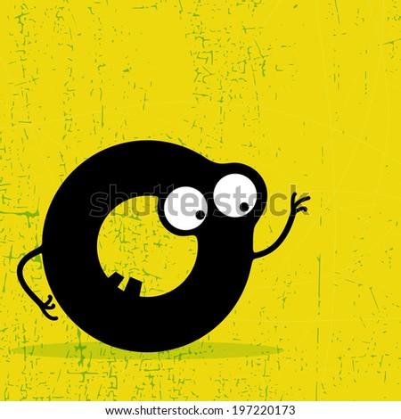 Letter O Monster on grunge background. vector illustration - stock vector