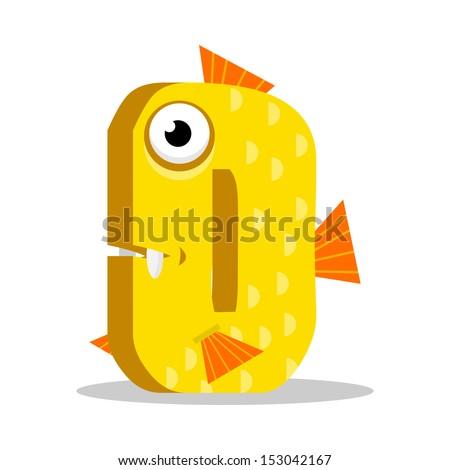 Letter O Monster, vector illustration - stock vector