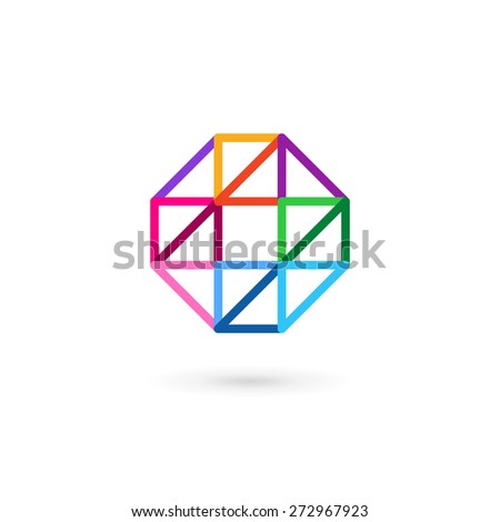 Letter O number 0 mosaic logo icon design template elements with cross and plus - stock vector