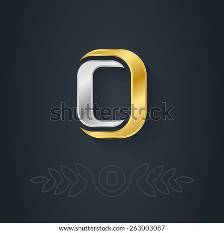 Letter O. Template for company logo with monogram element. 3d Design element or icon. Vector elegant gold and silver font. - stock vector