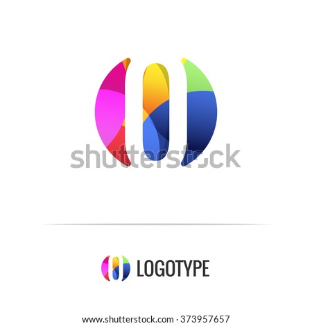 Letter O. Vector colorful alphabet element. Negative space forms a circle. Bright and fresh design letters for children's parties and fun celebrations. Beautiful logo and monogram for businesses. - stock vector