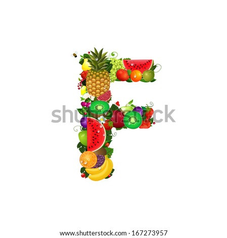 Letter of juicy fruit F - stock vector