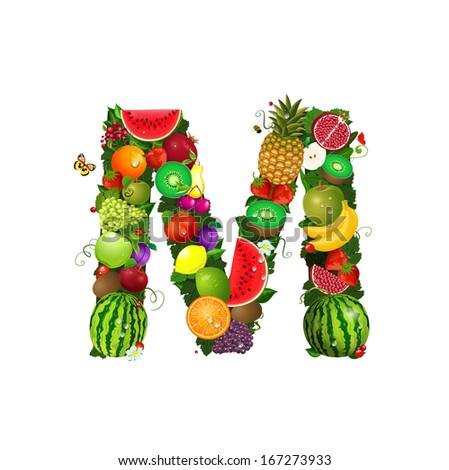 Letter of juicy fruit M - stock vector