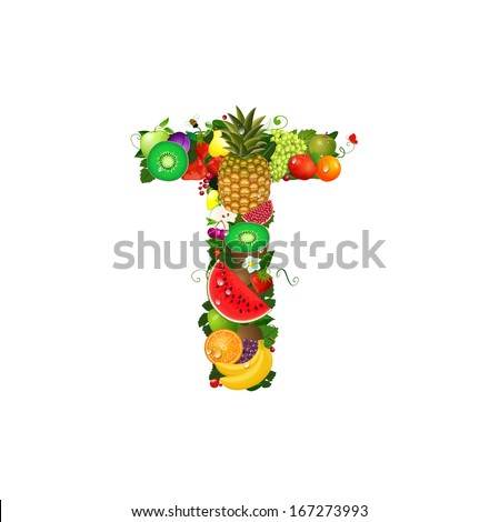 Letter of juicy fruit T - stock vector