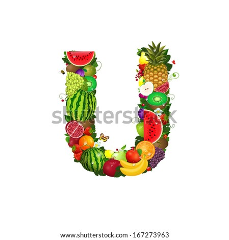 Letter of juicy fruit U - stock vector