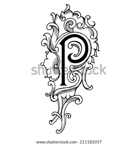 Letter P c in the style of abstract floral pattern on a white background - stock vector