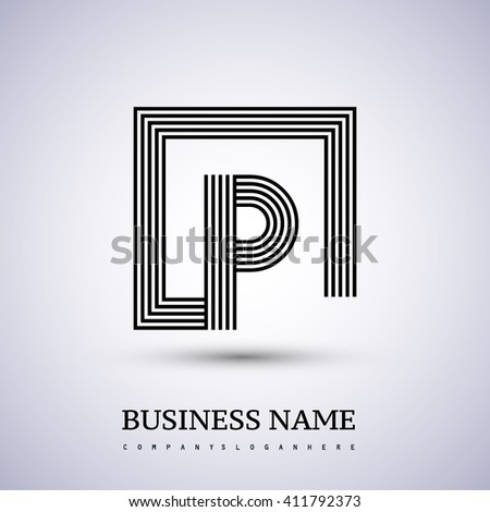 Letter P logo in a square. black colored. Vector design template elements  for company identity. - stock vector