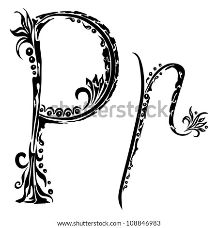 Letter P p  in the style of abstract floral pattern on a white background - stock vector