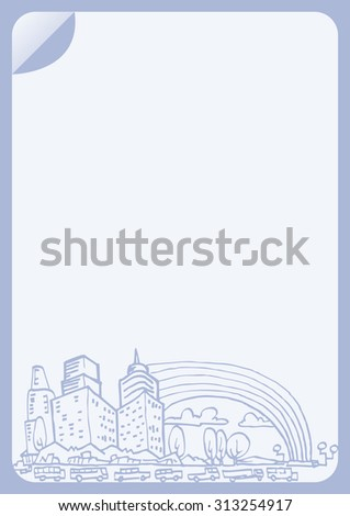 Letter paper template with cityscape hand draw illustration - stock vector