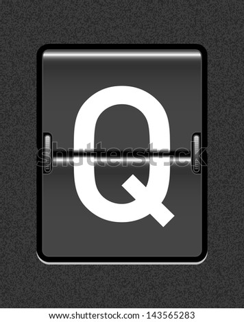 Letter Q on a mechanical timetable - stock vector