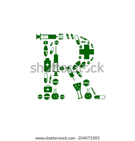 Letter R, alphabet of medicine pills - stock vector