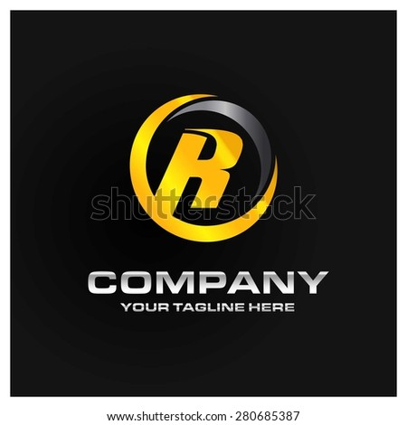 Letter R logo , Orange and gray Metal abstract glossy logo on black background . Place for Company name and tag line . Business logo - vector illustration - stock vector