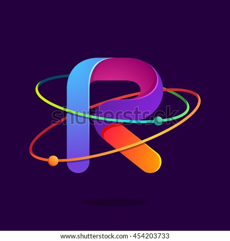 Letter R logo with atoms orbits lines. Bright vector design for science, biology, physics, chemistry company. - stock vector