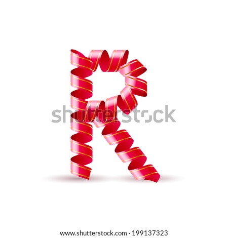 Letter R made of red curled shiny ribbon - stock vector