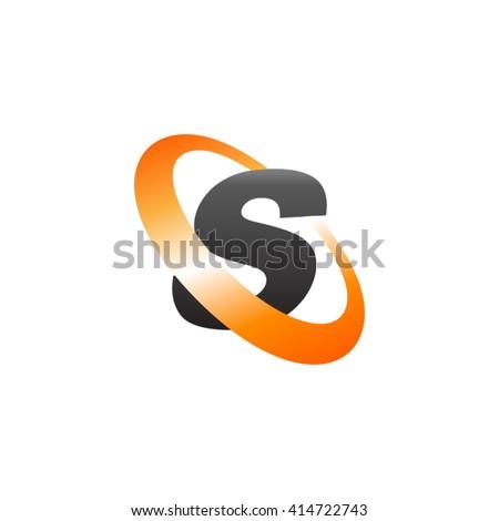 Letter S orbiting swoosh business logo black orange - stock vector