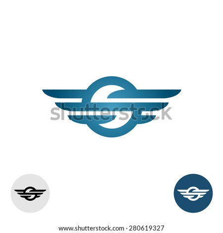 Letter S with lines and wings round logo - stock vector