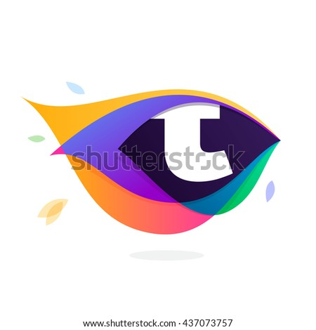 Letter T logo in peacock feather icon. Multicolor vector alphabet letters for app icon, corporate identity, card, labels or posters. - stock vector