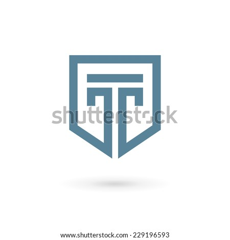 Letter T shield logo icon design template elements  - stock vector