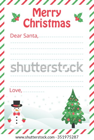 letter to santa with christmas trees and snowman - stock vector