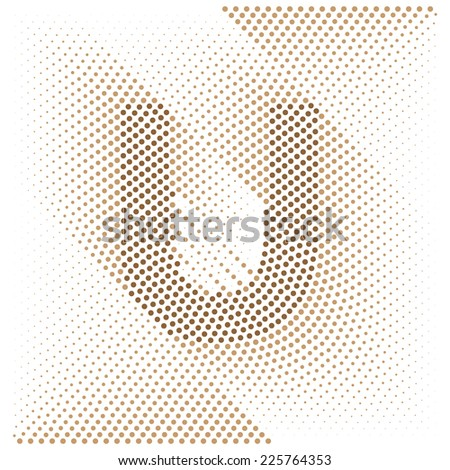 Letter U - Abstract dotted optical illusion alphabet  - stock vector